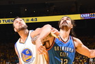 Andrew Bogut and Steven Adams jostle for position. Photo / Getty Images