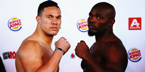 Joseph Parker and Carlos Takam at the weigh in. Photo / Getty Images