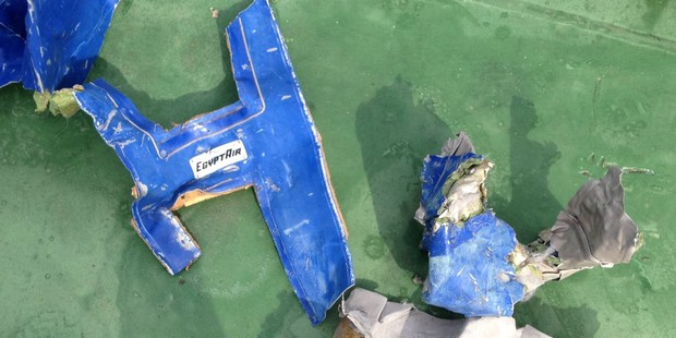 Wreckage from EgyptAir flight MS804. Photo / Getty Images