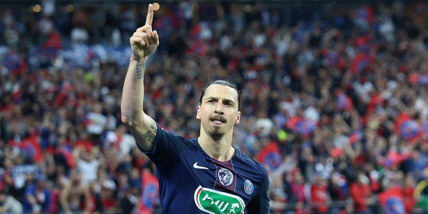 Zlatan Ibrahimovic celebrates his second goal for PSG in the French Cup final last week. Photo / Getty Images