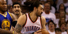 Steven Adams drives against Marreese Speights in game three. Photo / Getty Images