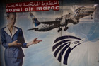 An advert promoting EgyptAir on the outside of a travel agency in Cairo. Air crashes and terrorist attacks have taken a toll on the country's tourism industry. Photo / Getty Images