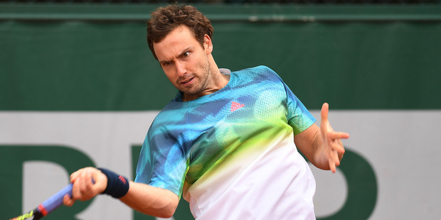 Ernests Gulbis in action at the 2016 French Open. Photo / Getty Images