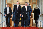 Finance Minister Bill English and Prime Minister John Key walk to the House during the 2016 budget presentation at Parliament on May 26, 2016. Photo / Getty