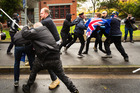 Members of True Blue Crew are met with violence from the leftist group ANTIFA in Melbourne. Photo / Getty Images
