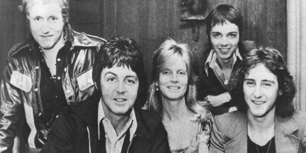 The band Wings, featuring Paul and Linda McCartney.