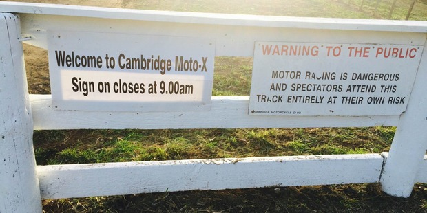 The entrance to the Cambridge motocross track. Photo / Supplied