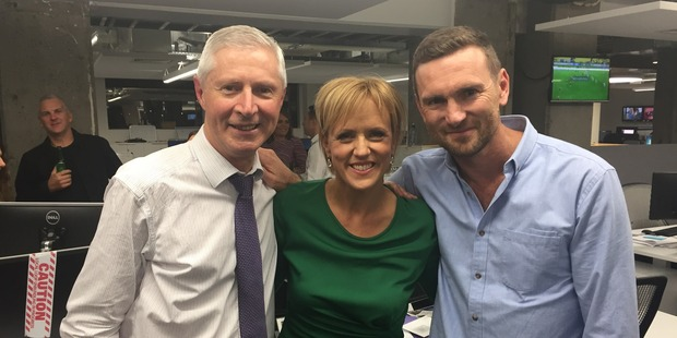 NZ Herald Focus host Tristram Clayton with Hilary Barry and Mediaworks former head of news Mark Jennings. Photo / Supplied