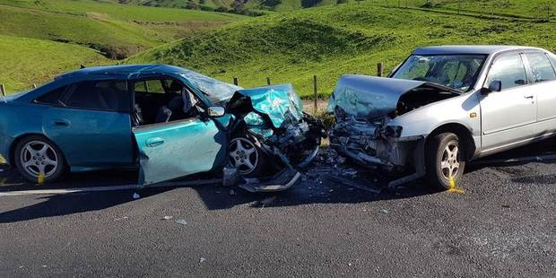 The vehicles collided just before 12.40pm today on State Highway 31, Tihiroa, north of Otorohanga. Photo / Supplied