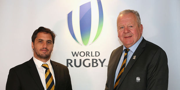 Agustin Pichot (L), the new Vice-Chairman of World Rugby and Bill Beaumont (R), the new Chairman of World Rugby. Photo / Getty