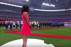 British pop star Karen Harding has apologised after missing her cue for the national anthem. Photo / Twitter.
