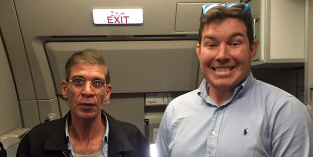 Ben Innes (right) posing for a selfie with Egyptian Seif Eldin Mustafa who hijacked an AirEgypt plane with a fake suicide bomb belt forcing the plane to land at Larnaka airport. Photo / Supplied