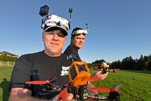 Tauranga drone racers Gary Hawkins, left, and Jason Seaward. Photo/George Novak