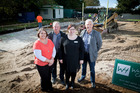 At the construction site of the new centre for the blind and deaf in Bethlehem, are from left, Paula Hudson, Brian Marshall, Fritha Millington, and Jim Casey. Photo / Andrew Warner