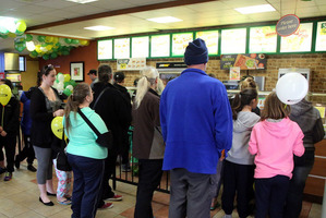 The queues stretched out of the door at Subway St Johns for most of the free Subway day on Saturday.