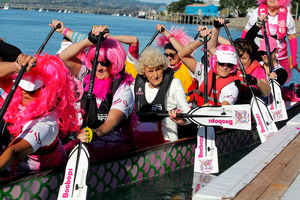Dorothy Wilson in her first dragon boating experience. Photo/Ruth Keber