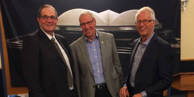 ALL IN: Whanganui MP Chester Borrows, roofing team member Bob Smith and architect Barry Copeland at the launch of the 5000 Club sponsorship scheme.