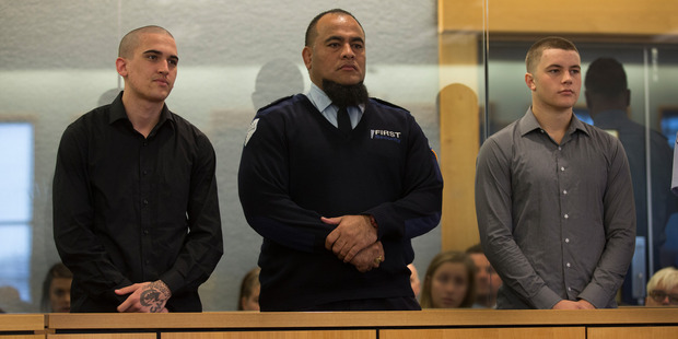 Loading Beauen Wallace-Loretz, left, and Leonard Nattrass-Bergquist, right, in the dock, during their sentencing at the High Court, Auckland. Photo / Brett Phibbs