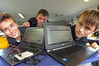 Coding class at Matahui School. L-R Taj Uttinger, 11, Jack Hutchinson, 11, Joel Dixon, 12. Photo/George Novak