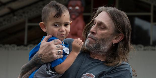 Loading Tony Lepage with his 2 year-old son Tangaroa. Photo: Brett Phibbs