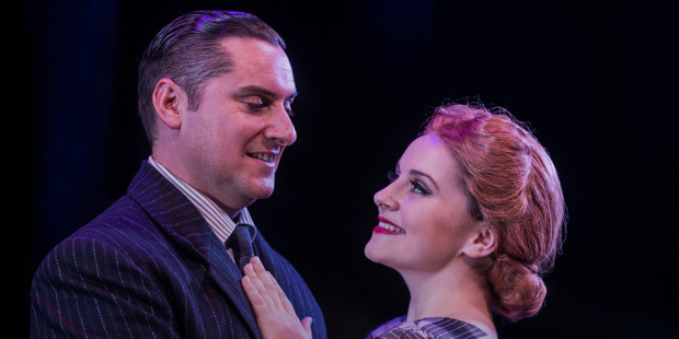 Heather Wilcock in her role as Eva Peron and with Evita co-star Russell Dixon in Hairspray.
