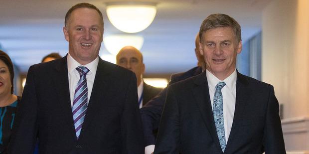 Loading Prime Minister John Key with Finance Minister Bill English. Photo / Mark Micthell
