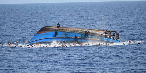 The adapted fishing trawler with more than 600 refugees on board capsized off the Lybian Coast. Photo / Facebook