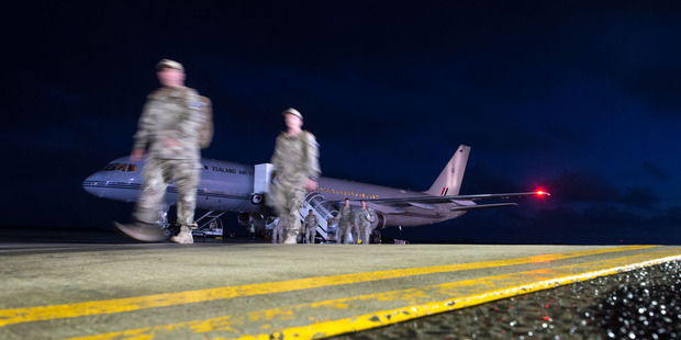 New Zealand Army personnel from the building partner capacity mission in Iraq return to Ohakea Air Force Base today. Photo / Supplied