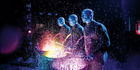 Blue Man Group mix driving percussion and absurdist humour.