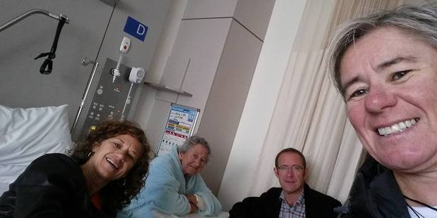 Opposition leader Andrew Little with his 93-year-old mum Cicely Little, and his sisters Jennifer and Val, at Taranaki Base Hospital this week. Photo / supplied via Facebook