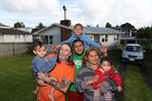 Tony Lepage and family find a house after living in a car. (L-R) Tangaroah Williams, Tony Lepage, Xzavier Williams, Isaiah Williams, Megan Williams and Anthony-Paul Williams. Photo / Doug Sherring