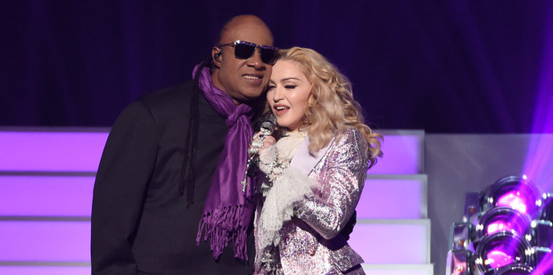 Stevie Wonder and Madonna perform a tribute to Prince at the Billboard Music Awards. Photo / AP