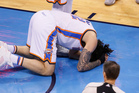 Steven Adams took a blow halfway through the second quarter. You must have seen it by now, a blatant kick, purposeful or otherwise, square below-the-belt. Photo / AP