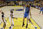 Oklahoma City Thunder center Steven Adams (12) dunks against the Golden State Warriors during the first half of Game 5 of the NBA basketball Western Conference finals. Photo / AP.