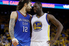 Oklahoma City Thunder's Steven Adams (12) argues with Golden State Warriors' Draymond Green (23) during the second half in Game 5. Photo / AP.