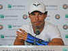 Nine-time champion Rafael Nadal announces he is pulling out of the French Open because of an injury to his left wrist during a press conference. Photo / AP.