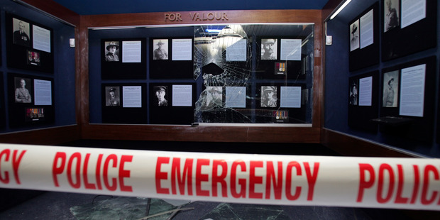 The scene of war medal theft at Waiouru Army Museum in December 2007. Photo / Doug Sherring.
