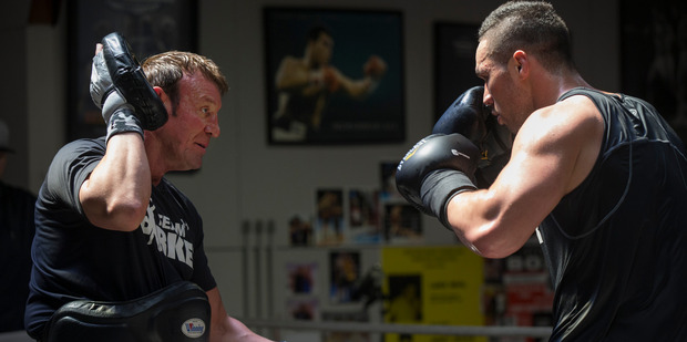 New Zealand Heavyweight Joseph Parker trains with trainer Kevin Barry. Photo / Nick Reed