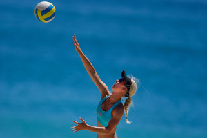 Tauranga's Emily Johnston has helped New Zealand qualify for the Under-19 World Beach Volleyball Championships. Photo / George Novak