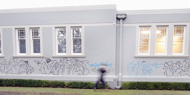 TAGGED: Serious graffiti on Whanganui's Alexander Library in 2008.