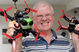 Steve Murray with a couple of his racing drones. Photo/George Novak
