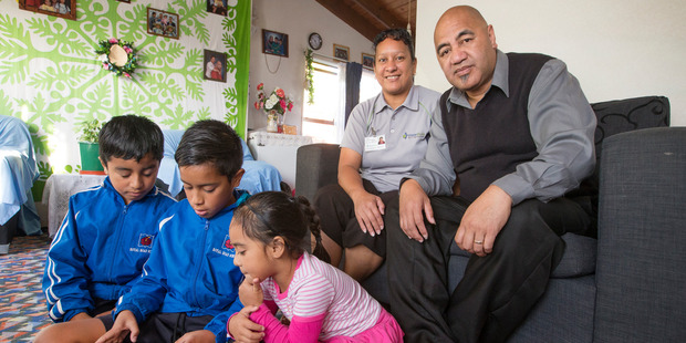 Loading Tuhe and Mathew Tauia a year ago with children (from left) Marcel, Teilian and Tebora. Photo / Nick Reed
