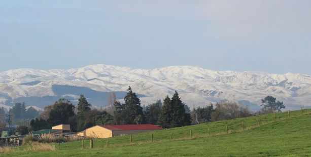 UNUSUAL: Snow on the ranges east of Dannevirke is an unusual sight, especially so early in the year. PHOTO CHRISTINE MCKAY