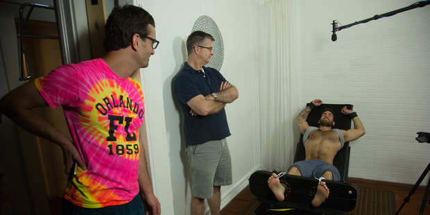 Loading David Farrier in a scene from his documentary Tickled. Photo / Michael Craig