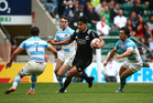 Rieko Ioane looks for a gap against Argentina. Photo / Getty Images