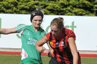 Lizzie Keedwell, left, a key figure in the Wairarapa United attack. PHOTO/CHRIS KILFORD