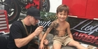A post of Benjamin Lloyd's indian ink freestyle painting on 5-year-old Jin Whitehead went viral on social media. Photo / Supplied