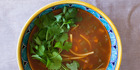 Tomato, chickpea and noodle soup