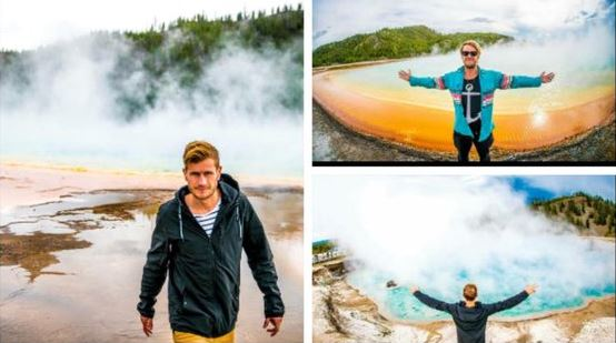 Kiwi Hamish McNab Campbell Cross and his friends are accused of leaving an established boardwalk and stepping on to a geothermal feature. Photo / imgur