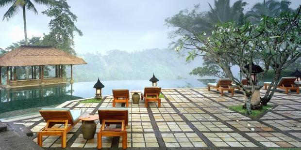Mist over the valley at the Amandari infinity pool. Photo / Ian Lloyd Neuabauer